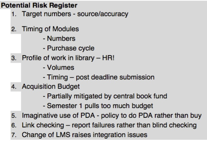 Potential Risk/Opportunties Register example